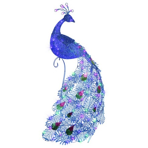 5ft Sparkle Feather Luxe Slim Peacock Decorative Sculpture - National Tree Company - image 1 of 1