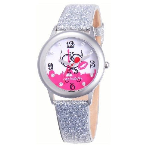 Girls' Red Balloon Paris L 'Amour Stainless Steel Glitz Watch - Silver - image 1 of 2