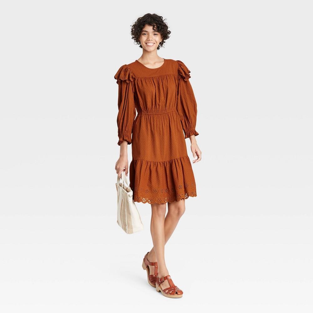 Women 39 S Ruffle Long Sleeve Ruffle Dress Universal Thread 8482 Brown S