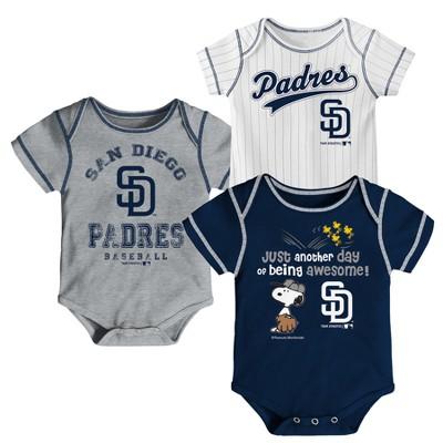 San Diego Padres Baby Boys' 3pk Short Sleeve Bodysuit - 6-9 M