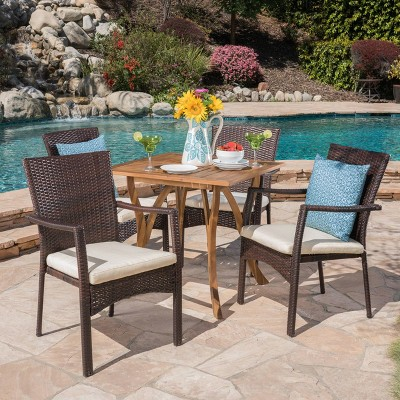Ferris 5pc Acacia Wood & Wicker Patio Dining Set - Brown - Christopher Knight Home