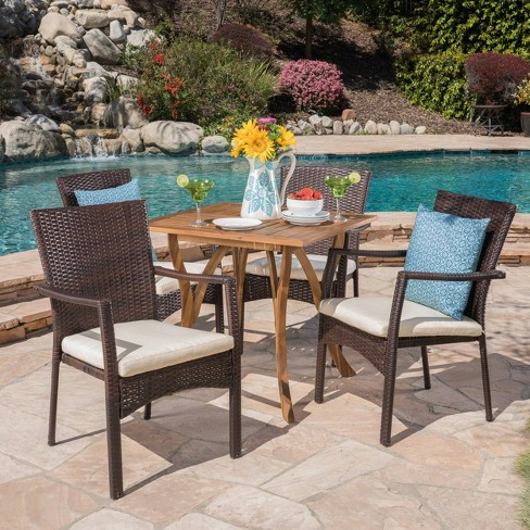 Ferris 5pc Acacia Wood Wicker Patio Dining Set Brown Christopher Knight Home Target