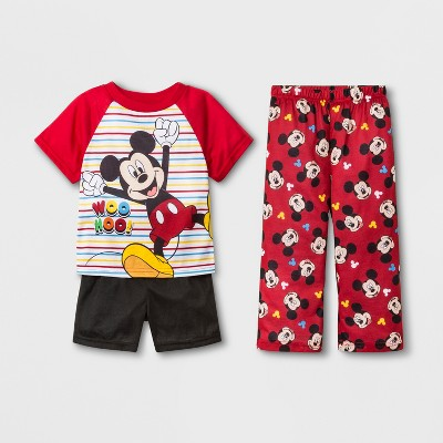 Baby Boys' Mickey Mouse 3pc Pajama Set - Red 2T