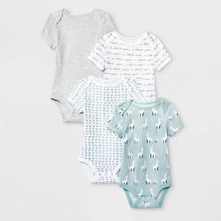 Baby 4pk Short Sleeve Llama Love Bodysuit - Cloud Island™