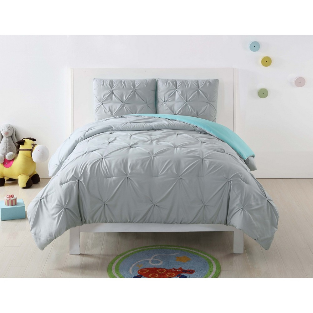 Image of Twin Extra Long Anytime Pleated Duvet Set Gray/Turquoise - My World