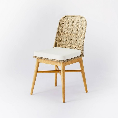 Juniper Woven Dining Chair with Cushion Natural - Threshold™ designed with Studio McGee - image 1 of 4