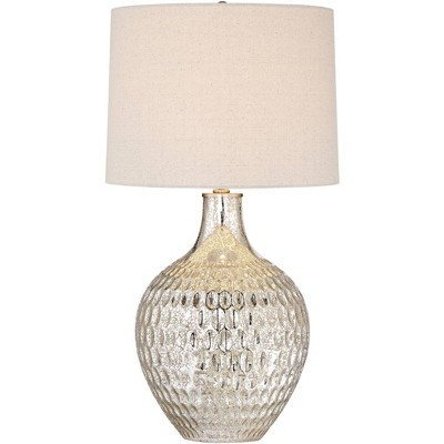 360 Lighting Modern Table Lamp Textured Mercury Glass Off White Tapered Drum Shade for Living Room Family Bedroom Bedside Office