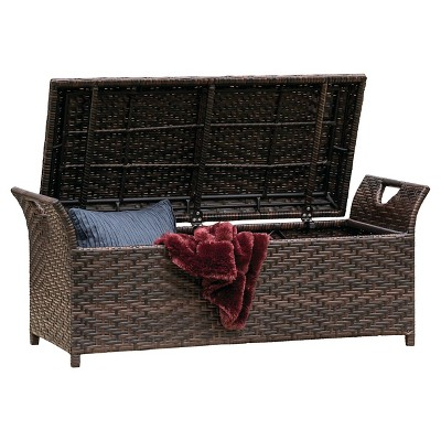 Wing Wicker Patio Storage Bench - Multi Brown - Christopher Knight Home