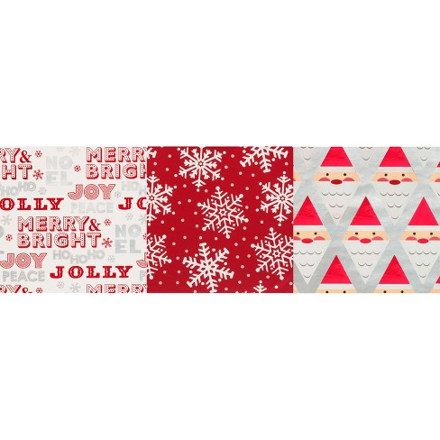 3pk silver red print gift wrap wondershop target
