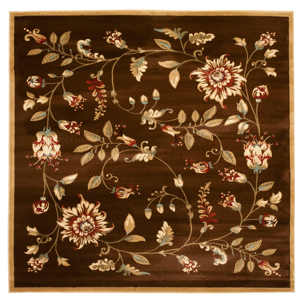Brown Floral Loomed Square Area Rug 6'7