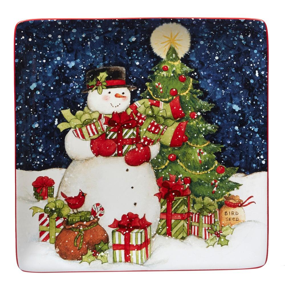 Certified Intl 12.5 Starry Night Snowman Square Ceramic Serving Platter - Certified International