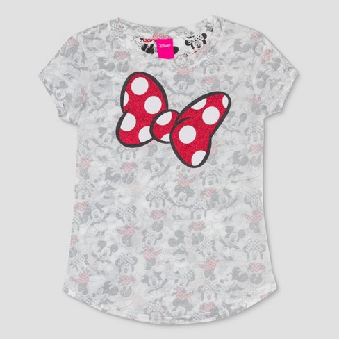 Girls' Minnie Mouse All Over Print Short Sleeve T-Shirt - Ivory - image 1 of 2