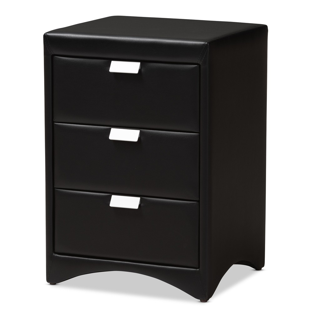 Image of Talia Faux Leather Upholstered 3 Drawer Nightstand Black - Baxton Studio