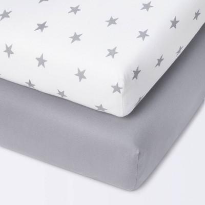 Fitted Mini Crib Jersey Sheet - Cloud Island™ Star/Gray 2pk