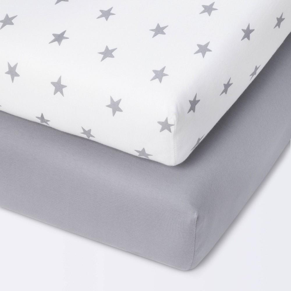 Fitted Mini Crib Jersey Sheet Cloud Island 8482 Star Gray 2pk