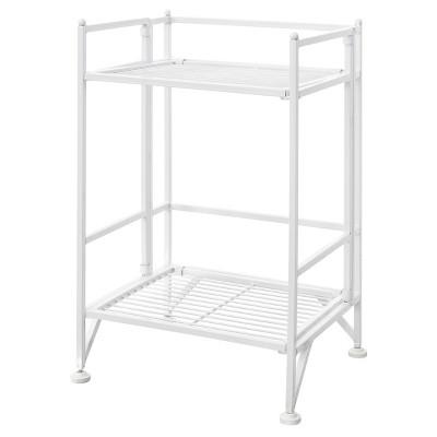 """20.25"""" 2 Tier Folding Metal Shelf White - Breighton Home"""