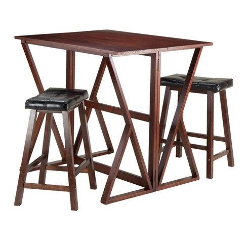 "3 Piece Harrington Set Drop Leaf High Table with Cushion Counter Stools Wood/Walnut/Black 24"" - Winsome - image 1 of 4"