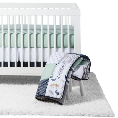 Sweet Jojo Designs Crib Bedding Set - Navy and Mint Woodsy - 4pc