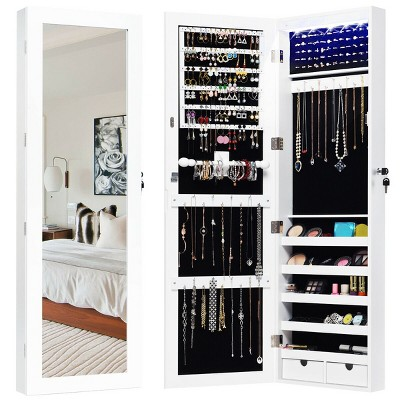 Costway Wall Mounted Mirrored Jewelry Cabinet Organizer LED Lights