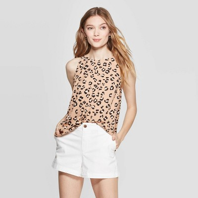 view Women's Leopard Print Sleeveless Crewneck Top - A New Day Brown on target.com. Opens in a new tab.