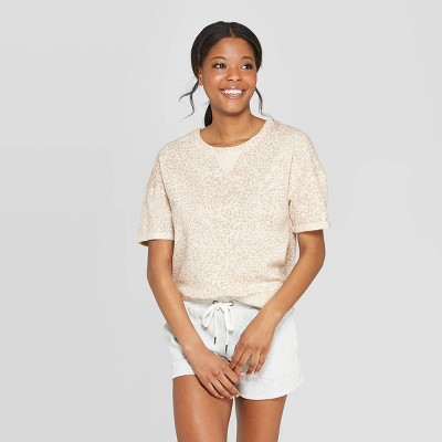 Women's Leopard Print Brushed Fleece Short Sleeve Sleep T-Shirt - Stars Above™ Oatmeal L