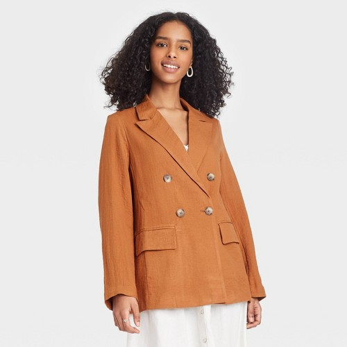 Women S Double Breasted Blazer A New Day Brown S