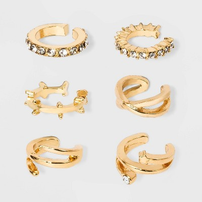 Gold-Tone with Cubic Zirconia, Acrylic Crystal Stones Ear Cuffs - Wild Fable™ Gold