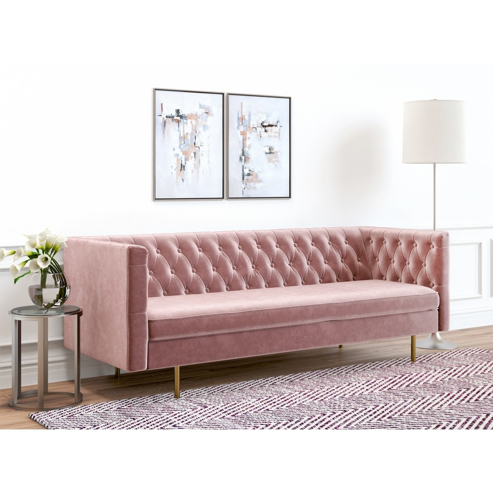 Image of Belinda Tufted Velvet Sofa Blush Pink - AF Lifestlye