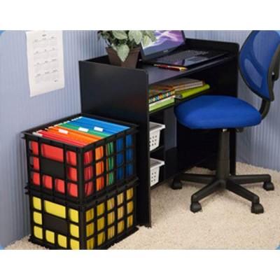 Sterilite 16929006 Plastic Storage Box Crate, Black (12 Pack)