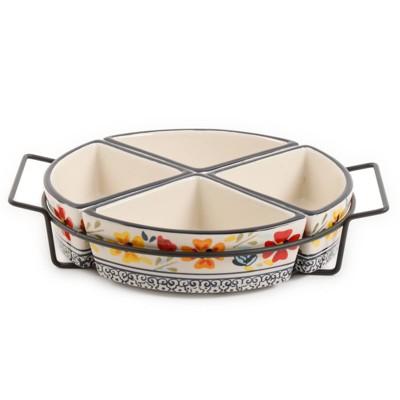 Gibson Home 5pc Stoneware 4-Section Tidbit Serving Dish Set
