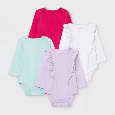 Baby Girls' Long Sleeve Bodysuit - Cat & Jack™ White 0-3M