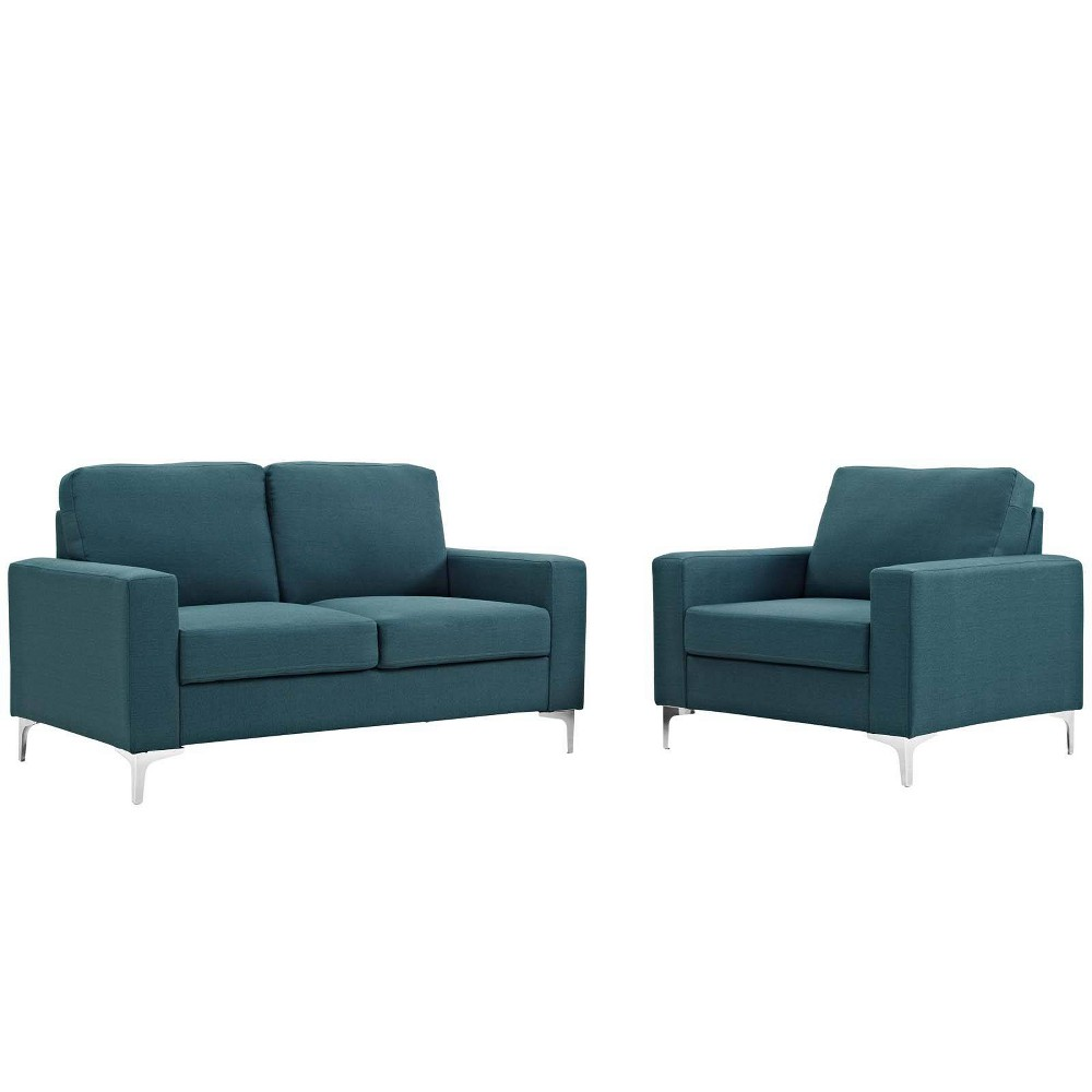 Pleasing 2Pc Allure Sofa And Armchair Set Blue Modway Machost Co Dining Chair Design Ideas Machostcouk