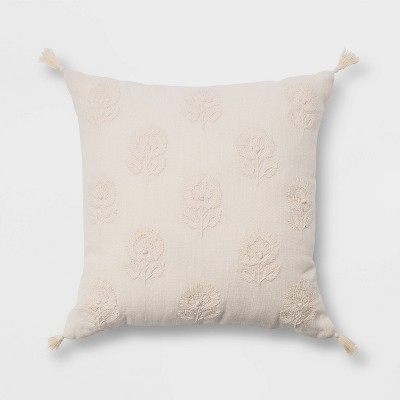 Embroidered Floral Square Throw Pillow with Tassels Cream - Threshold™