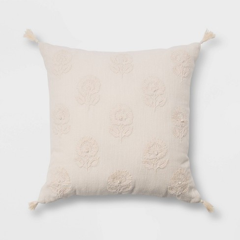 Embroidered Floral Throw Pillow with Tassels - Threshold™ - image 1 of 4