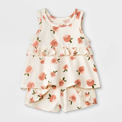 Grayson Mini Baby Girls' 2pc Strawberry Top & Bottom Set - White Newborn