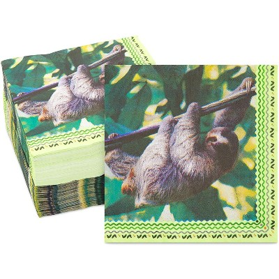 Sparkle and Bash 150 Pack Sloth Birthday Party Supplies, Disposable Napkin Paper Napkins, 6.5""