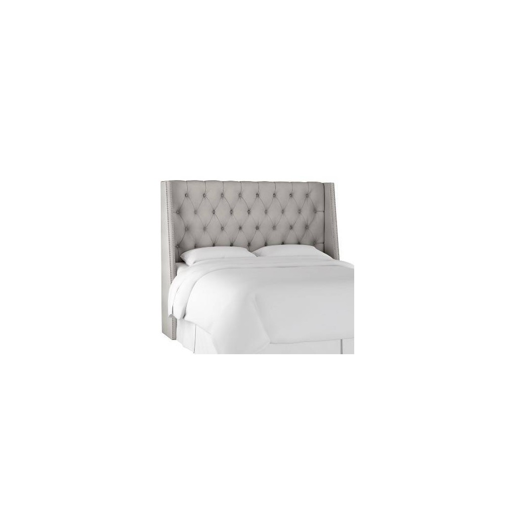 Full Diamond Tufted Wingback Headboard Medium Gray Velvet with Pewter Nail Buttons - Skyline Furniture