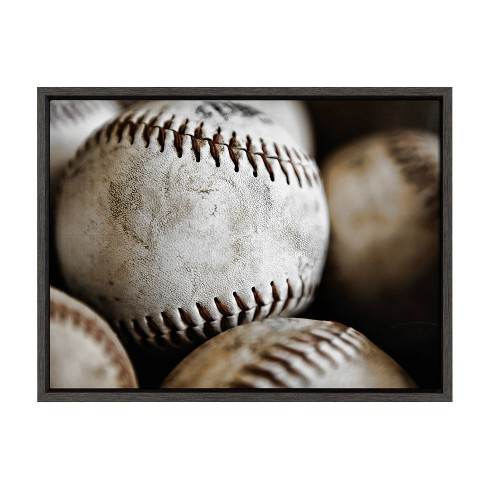 """18"""" x 24"""" Sylvie Softball Close Up Framed Canvas by Shawn St. Peter Gray - DesignOvation - image 1 of 4"""