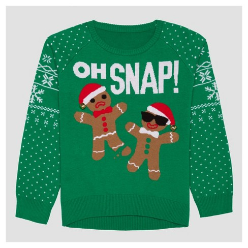 60682447117 Hybrid Apparel Girls  Oh Snap Ugly Christmas Sweater - Green M   Target
