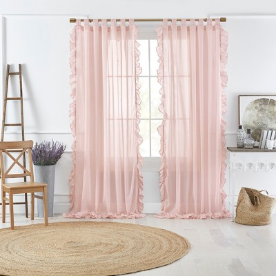 Bella Tab-Top Ruffle Cottagecore Sheer Window Curtain Panel - Elrene Home Fashions