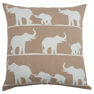 Khaki Marching Elephants Throw Pillow (20 x20 )- Rizzy Home