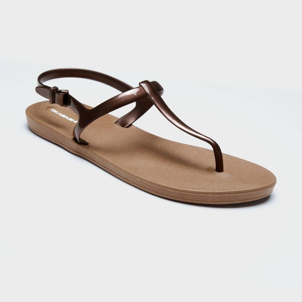 Women's Path T Strap Sandals - Okabashi Bronze 8