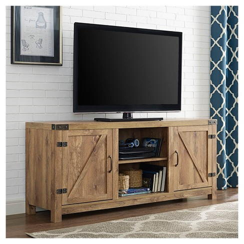 58 Barn Door Tv Stand With Side Doors Barnwood Saracina Home