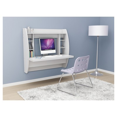 Etonnant Floating Desk With Storage White   Prepac