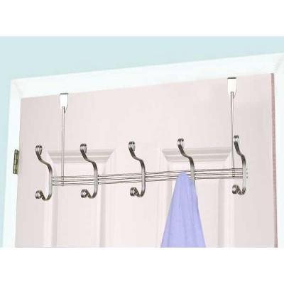 Home Basics Over the Door 5 Hook Hanging Rack, Satin Nickel