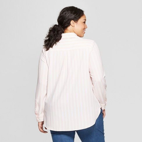 a91bb174a Women's Plus Size Striped Long Sleeve Collared Button-Down Blouse - Ava &  Viv™ Pink 1X : Target