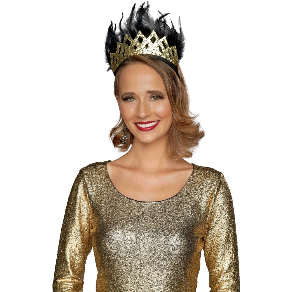 2ct Adult Feather Crown Gold New Year's Eve Accessory - Spritz, Women's, Multi-Colored