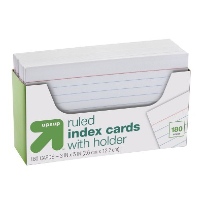 """180ct 3"""" x 5"""" Ruled Index Cards with Holder White - Up&Up™"""