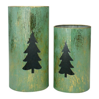 """Northlight Set of 2 Rustic Green and Gold Christmas Tree Tabletop Lanterns 12"""""""
