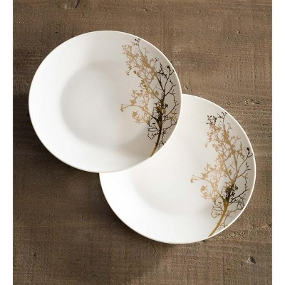 VivaTerra Gold Branch Porcelain Dessert Plates, Set of 2